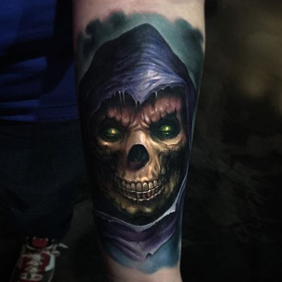 Skeletor by Paul Acker via @paulackertattoo #horror #realistic #portrait #Skeletor