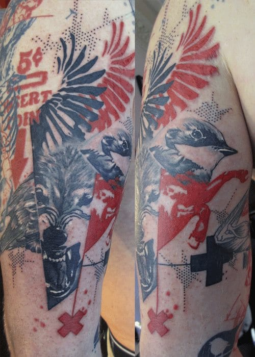 Surreal wolf and bird tattoos