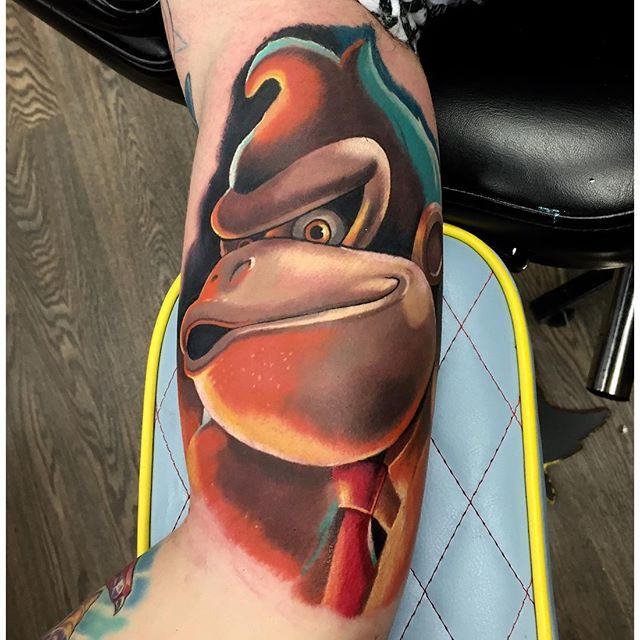 Donkey Kong, A Portrait of A Maligned Digital Ape in Tattoos