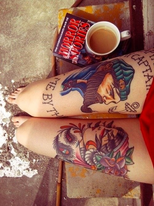 Exceedingly well done traditional portraits, creatively facing each other. Traditional thigh tattoo, artist unknown #traditional #portrait #thigh