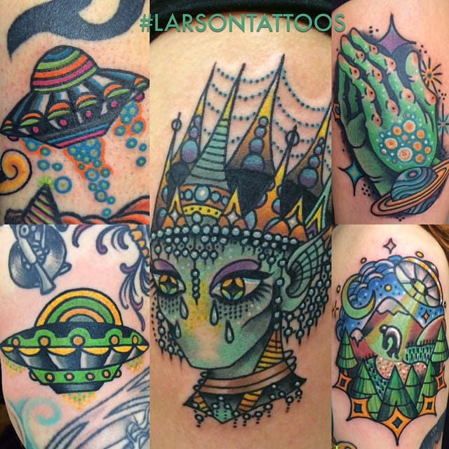 Super Cool Tattoos Of Aliens, UFOs, And All Odd Things By Jon Larson