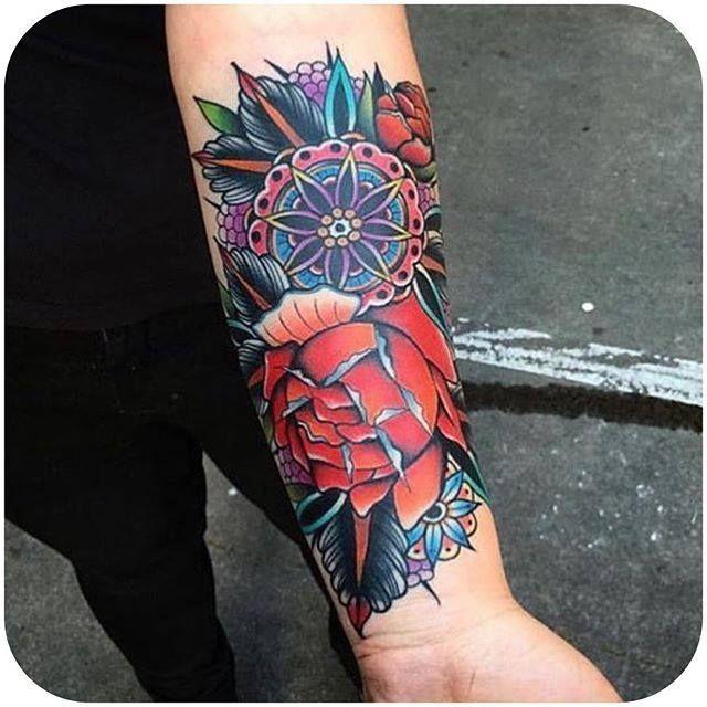 By Kirk Jones @kirk_jones_tattoo #traditional #rose #mandala #color #KirkJones