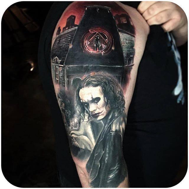 Paul Acker via @paulackertattoo #horror #paulacker #thecrow #sleeve #PaulAcker