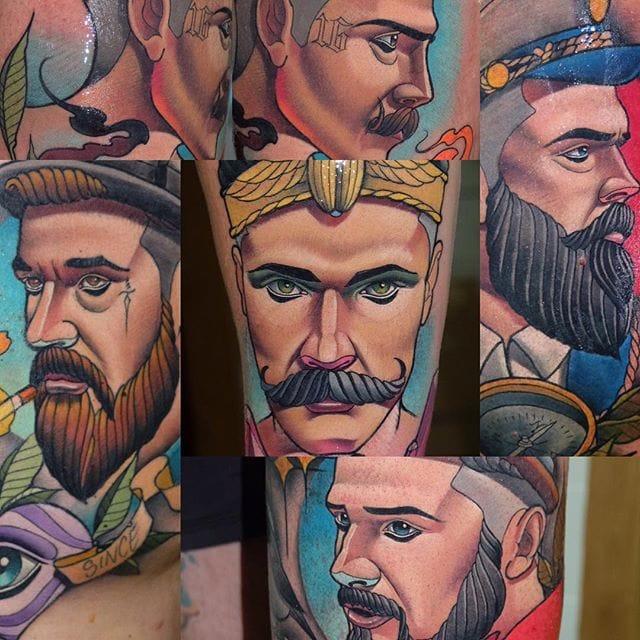 Bright Neo-Traditional Gentlemen Tattoos by Myrhwan Ogt