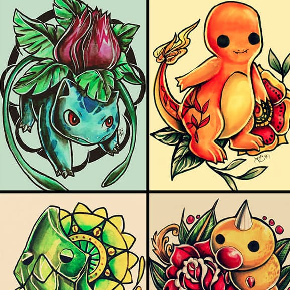 Check Out The Coolest Pokémon Tattoo-Inspired Collage Right Now