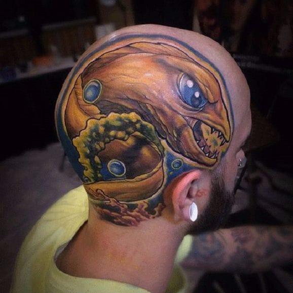 Bold new school moray eel tattoo by Robbie Ripoll #eel #RobbieRipoll #newschool #morayeel #head