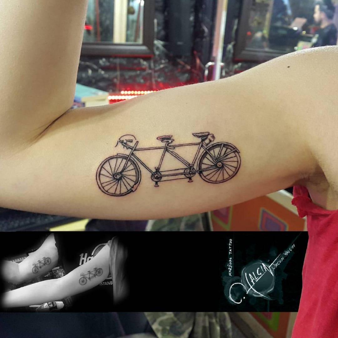 Cool tandem bicycle by @orcnyalcn from Instagram #tandem #bicycle #bicycletattoo #delicate #simple #detailed #blackworktatto #blackwork