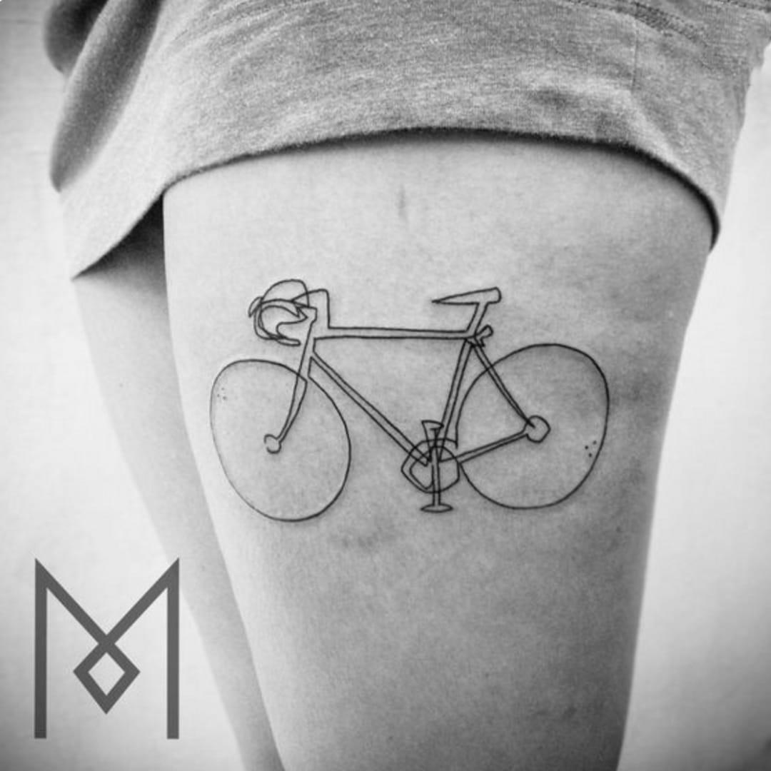 Minimalistic bicycle tattoo by Mo Ganji #moganji #bicycle #bicycletattoo #minimalistic #simple #fineline #linework #blackwork
