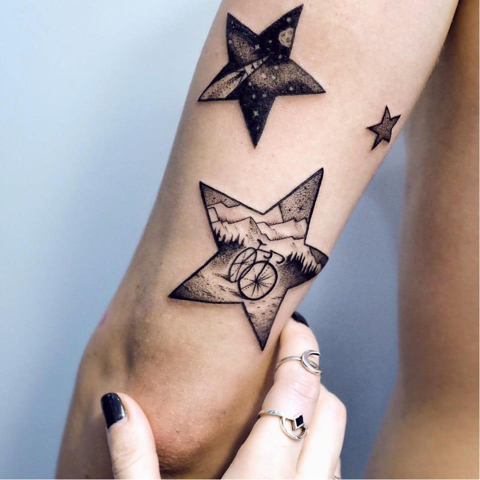 Beautiful bicycle tattoo by @sashakiseleva from Instagram #bicycle #bicycletattoo #blackwork #star #detail