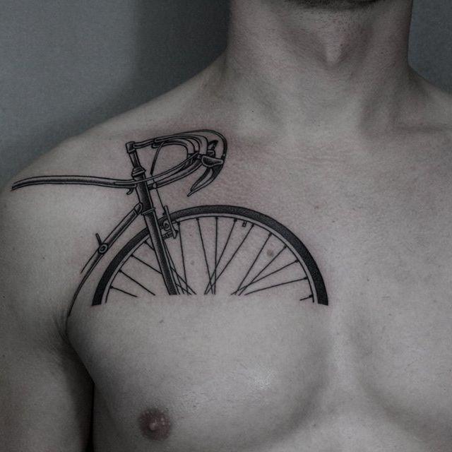 Awesome blackwork bicycle tattoo by Ilya Brezinski #IlyaBrezinski #bicycle #bicycletattoo #linework #simple #detailed #cyclist #blackwork