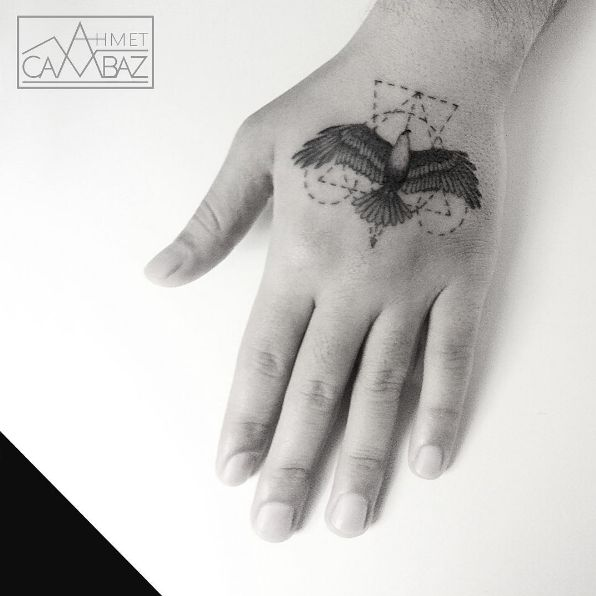 Geometry inspired tattoo of an eagle #AhmetCambaz #eagle #geometry #lines #geometric #wildlife #animal