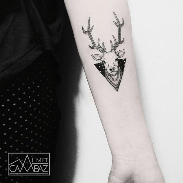 Awesome deer tattoo by Ahmet Cambaz #AhmetCambaz #deer #geometric #portrait #wildlife #animal