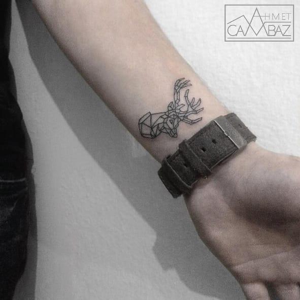 Linework deer tattoo #AhmetCambaz #deer #linework #blackwork #simple #fineline #wildlife #animal