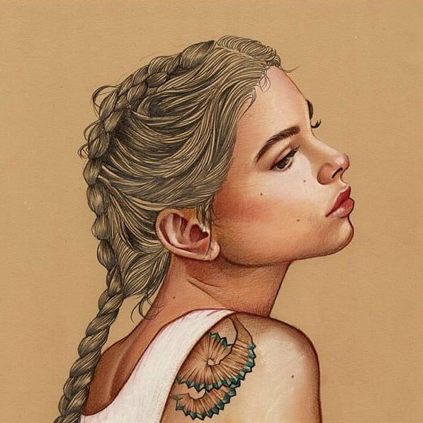 Elena Pancorbo's Gleaming Drawings Of Artfully Tattooed Women