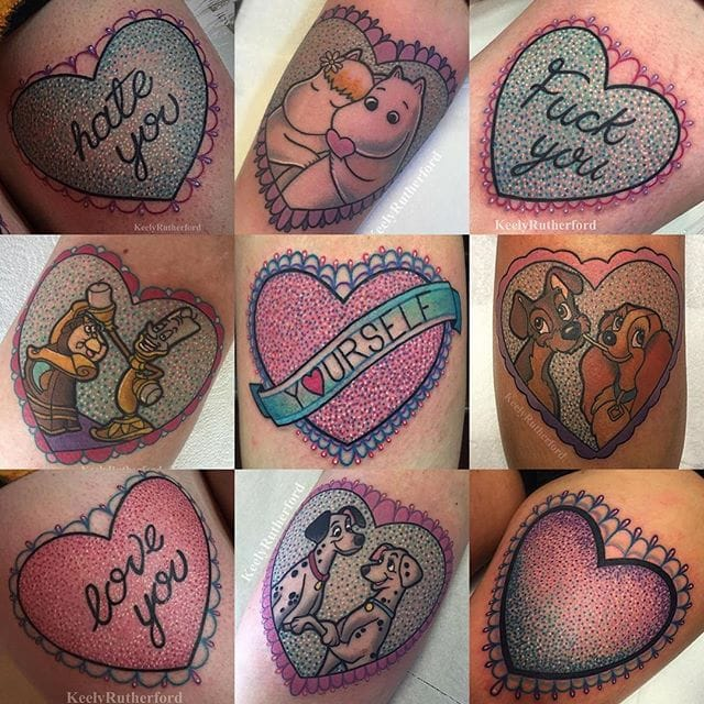 Cute Heart Tattoos By Keely Rutherford