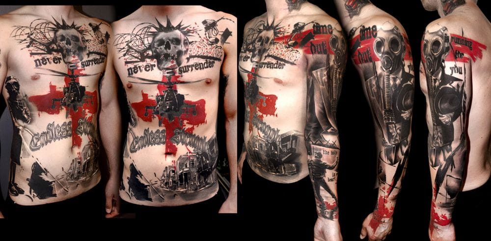 Realistic Trash Polka style tattoo