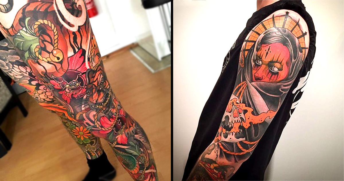 Outstanding Neo-Traditional Sleeve Tattoos!