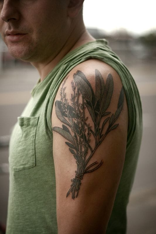 Bundle of aromatic herbs. A great cook tattoo? By Alice too.