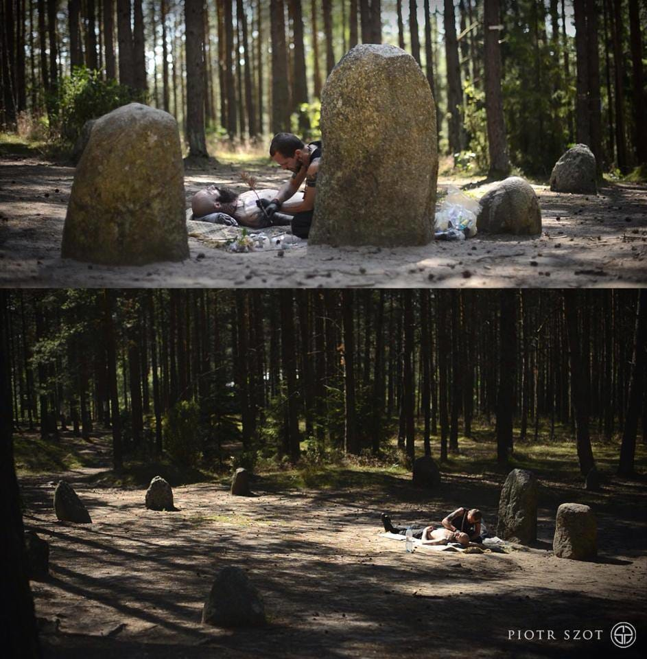 Piotr Szot with the mystic surrounding of a 2000 year old stone circle in Wesiory, Poland.