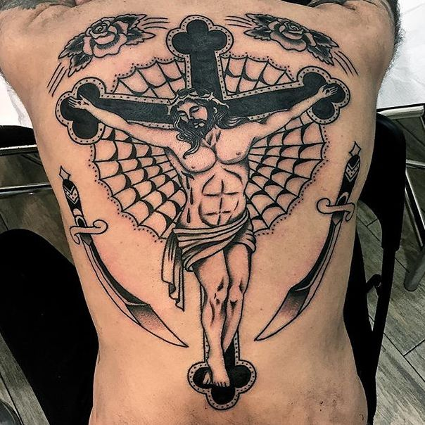 Impressive Traditional Crucifix Tattoos