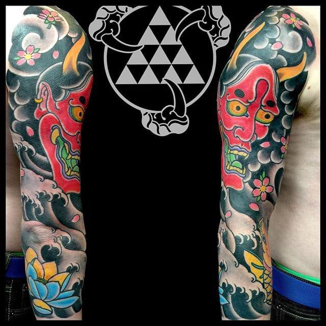 Striking Japanese Sleeve Tattoos by Rhys Gordon