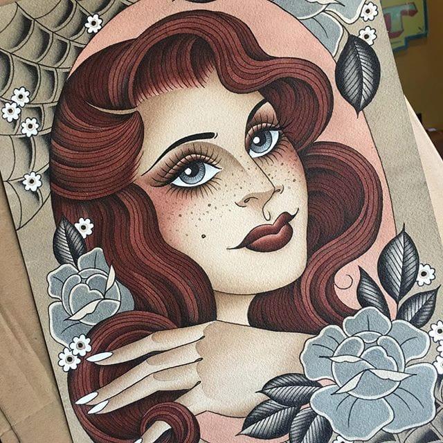 Painting by Lizzie Renaud @lizzietattoo #LizzieRenaud #ladyhead #traditional #ARTSHARE