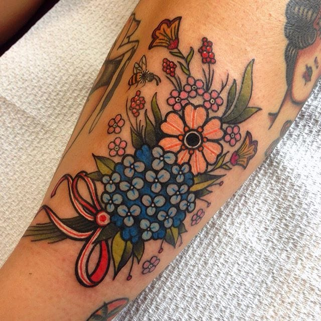 13 Colorful and Everlasting Bouquet Tattoos