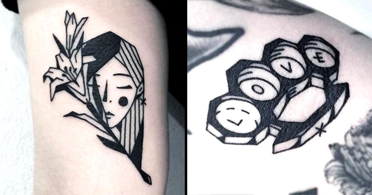 Greem: Edgy Simplistic Blackwork Tattoos