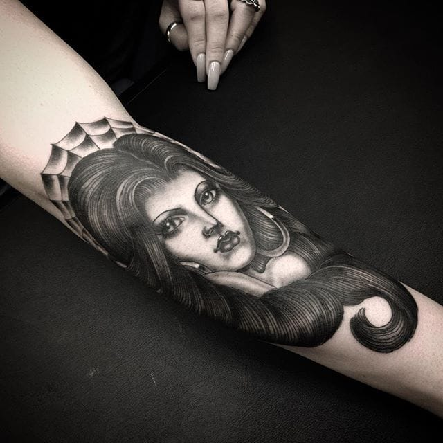 Classic Chicano Girl Tattoos By Chuco Moreno