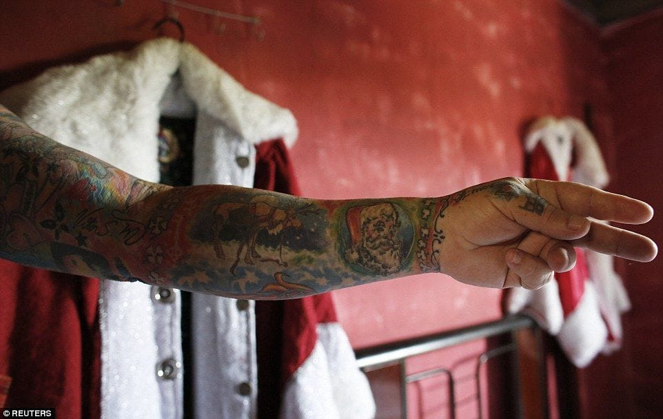 Santa Vitor has covered 94 per cent of his body in tattoos.