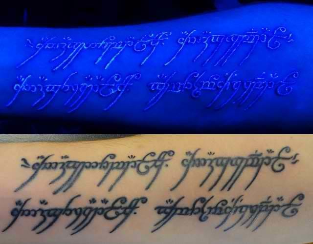 Here's a Lord of the Rings-inspired tattoo quote which glows under black light. Looks cool!
