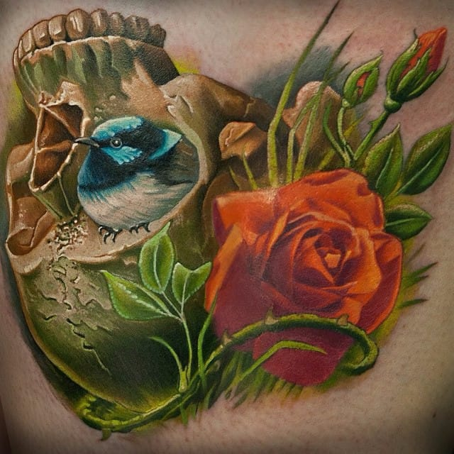 Colorful Realism Tattoos By Frederick Bain