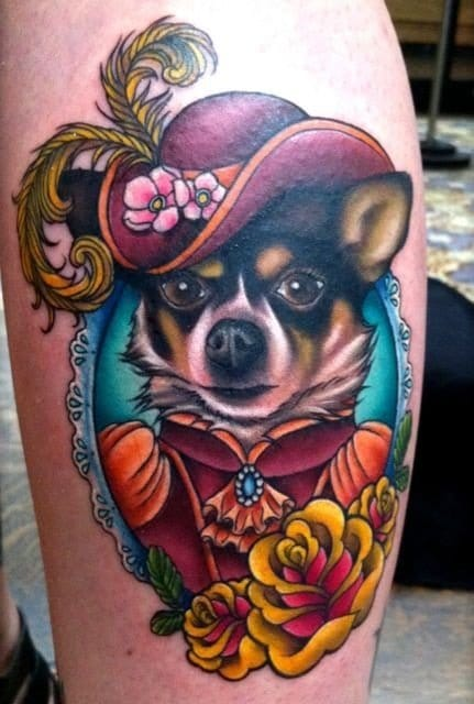Victorian themed cartoon portait of a client's dog, done on NY Ink by Megan Massacre.