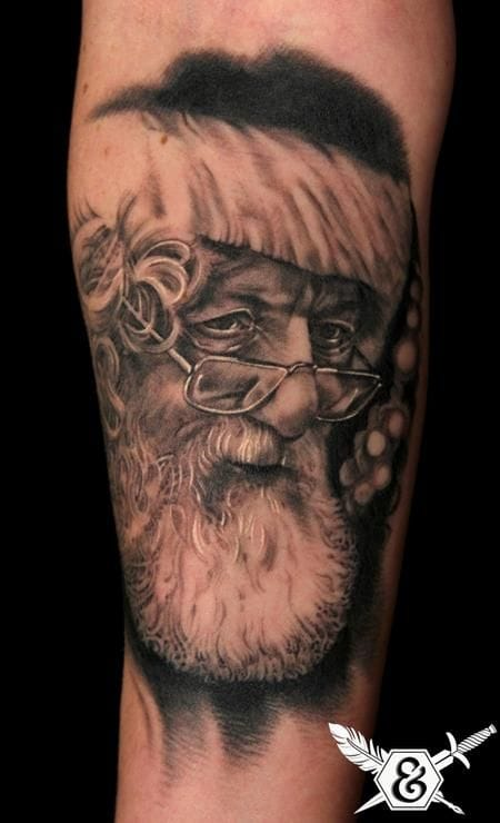 To start off, a very serious black and grey Santa portrait