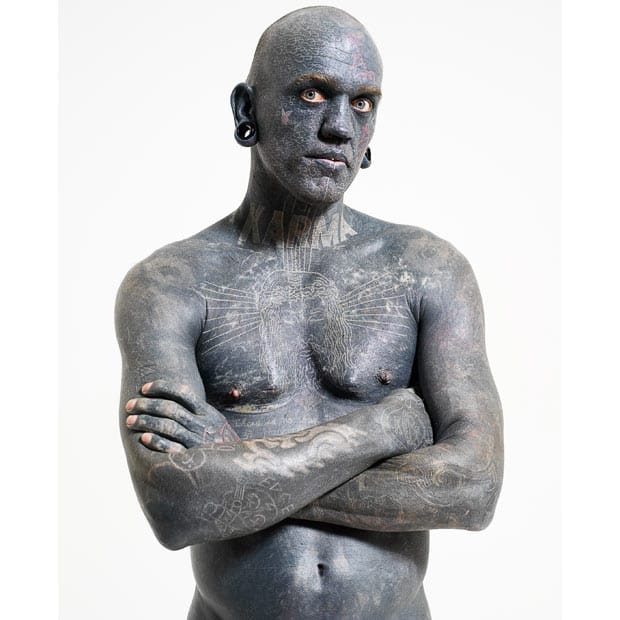 Most Tattooed Man, Lucky Diamond Rich, Guinness World Record as of 2006