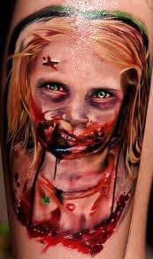 Creepy zombie girl tattoo
