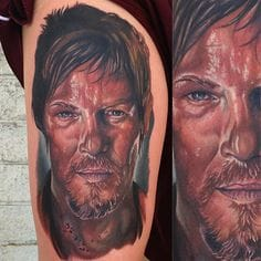 A nicely done portrait of Daryl Dixon, Done by Audie Fulfer jr. tattoo artist in Fresno.