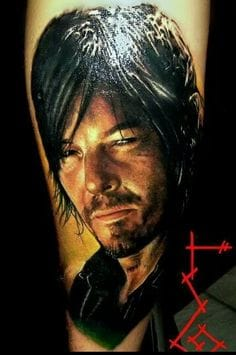 Artist unknown - Please share with us in comments below if you know the name of the Artist of this amazing portrait of Daryl Dixon.