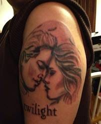 Outlining and some sort of shading of two people, and the text Twilight - uh wait is it Edward and Bella?