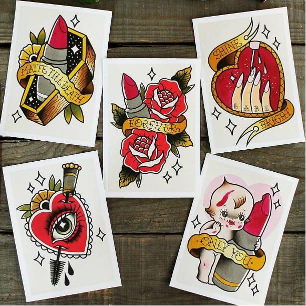 Original Tattoo Flash Prints By Gillie & Debbie