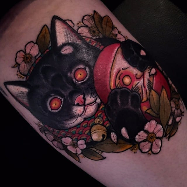 ~Sugoi~ Neo Traditional Japanese Style Cat Tattoos By Lewis Buckley