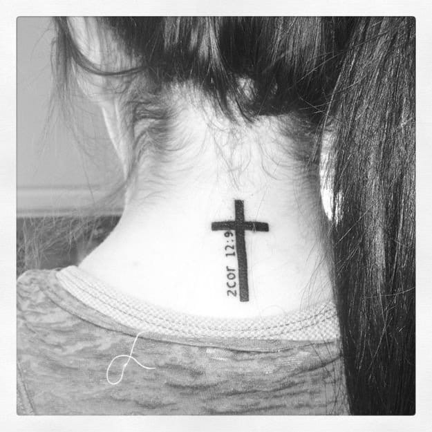 Cross and bible verse on the back of the neck.