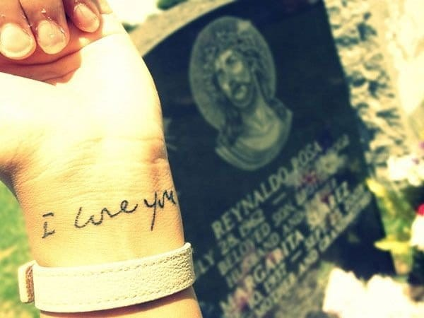 It doesn't get much more sentimental than a tattoo in the handwriting of a loved one.