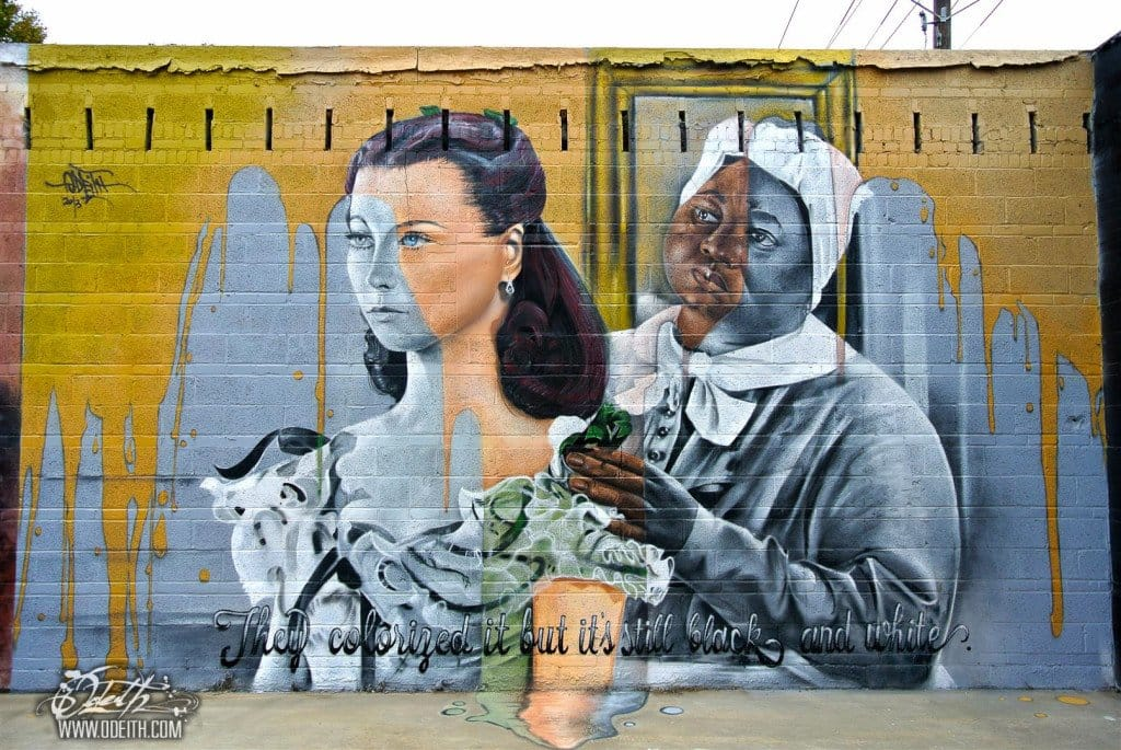 Odeith is also doing 2D murals. Here a social message using movie Gone with the Wind in Baton Rouge, Louisiana.