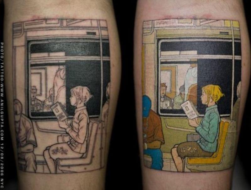 Tattooist Anil Gupta recreated one of Adrian Tomine's New York drawings.