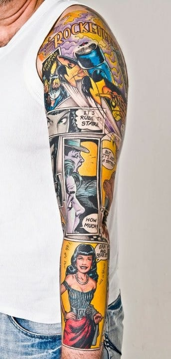 A full sleeve of Dave Stevens' The Rocketeer. We don't know who is the artist, please tell us!