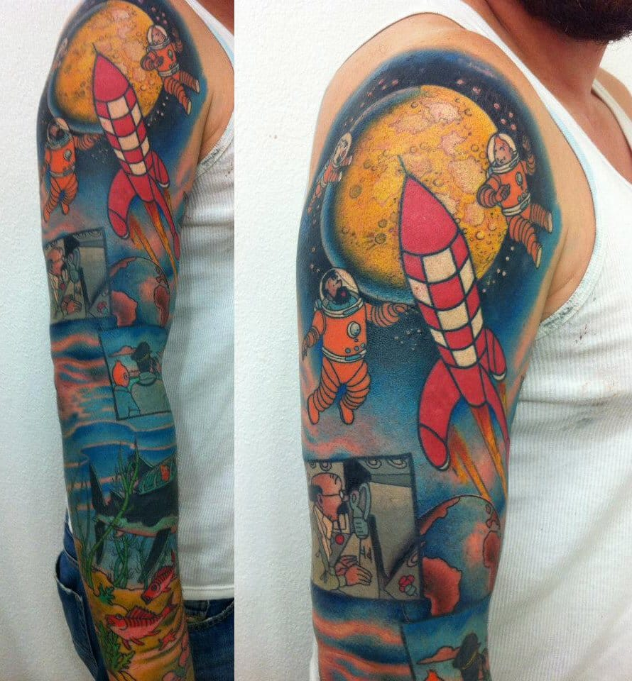 And this sleeve also inspired by Tintin made by Oderus at Giahi Tattoo is just WOW.