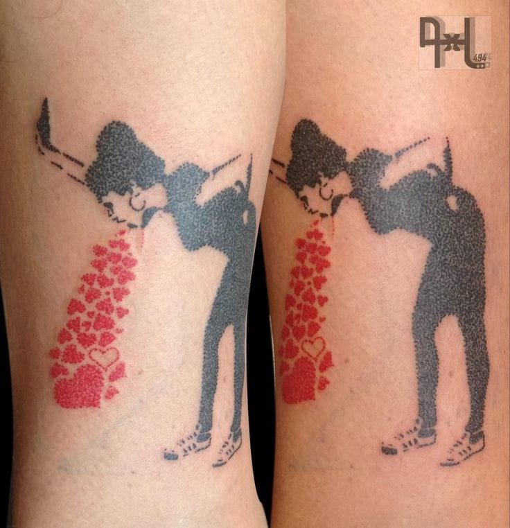Another Banksy's painting tattooed by AxL.