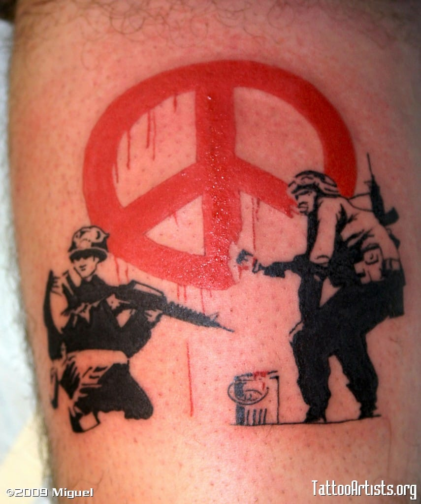 Peace not war. Tattoo by Miguel.
