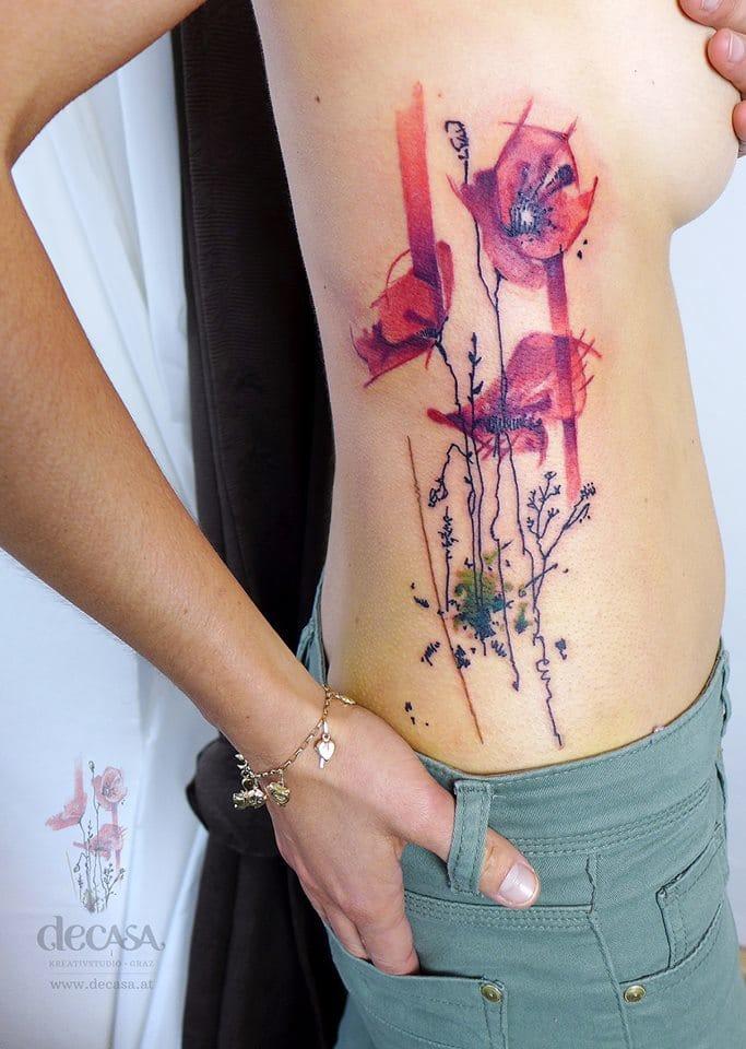 Interresting watercolor tattoo by Carola Deutsch.